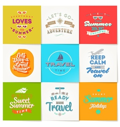 Set of travel and vacation type design vector