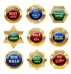 Golden sale labels vector