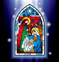 Christmas stained glass window vector