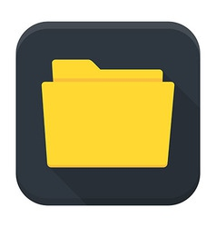 Empty folder with paper flat app icon with long vector