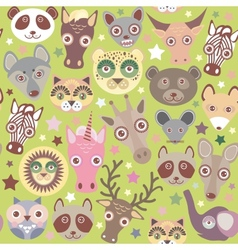 Funny animals muzzle seamless pattern green vector