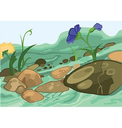 Cartoon flowers and stones vector