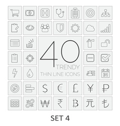 40 thin line icons set 4 vector