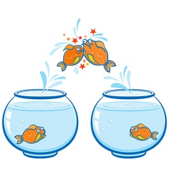 Goldfish jumping out of the water and crash vector