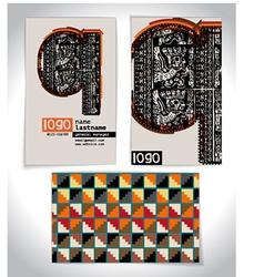 Ancient business card design letter q vector