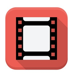 Filmstrip flat app icon with long shadow vector