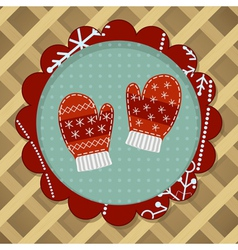 Little cute pair of red mitten vector