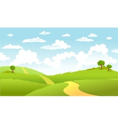 Green landscape and the road vector
