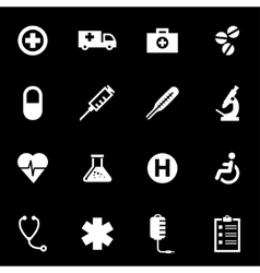 White medical icon set vector