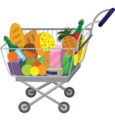 Grocery store shopping cart with food items vector