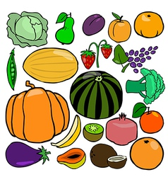 Cartoonish fruits and vegetables vol 1 vector