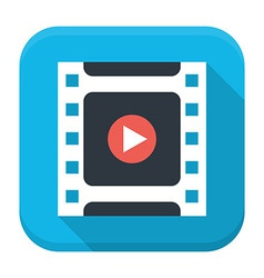 Filmstrip play flat app icon with long shadow vector