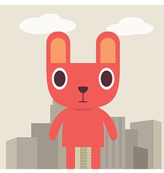 Red bunny cartoon vector