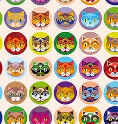Seamless background with muzzle of cats vector