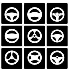 Black steering wheels icon set vector