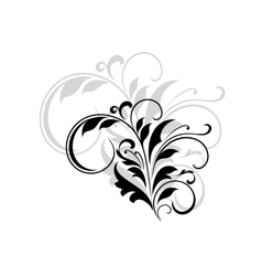 Abstract black floral design element vector