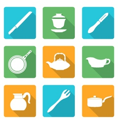 Flat style white dinnerware icons set vector