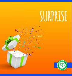 Open giftbox with confetti background vector