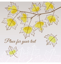 Linden leaf yellow style with place for your text vector