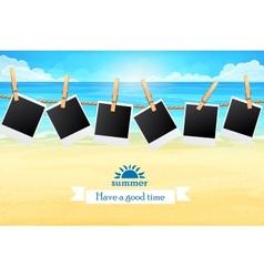 Seashore with frames for photos vector