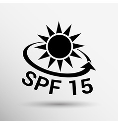Black and silver metallic spf 15 shield sticker vector