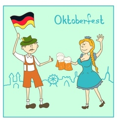 Man and girl with beer and the flag of germany vector