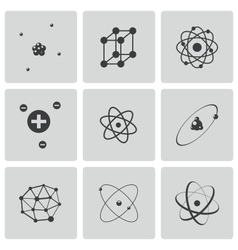 Black atom icons set vector