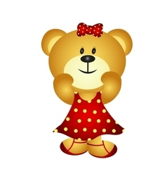 Cute cartoon girl bear vector