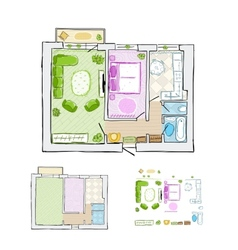 Sketch of design interior apartment hand drawn vector