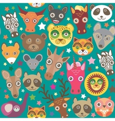 Set of funny animals muzzle seamless pattern teal vector
