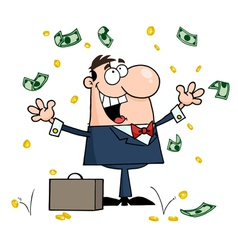 Businessman standing under falling money vector