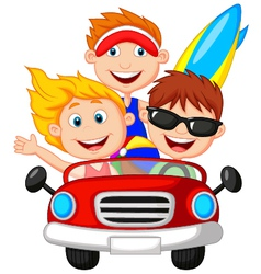 Cartoon young man and woman having fun driving the vector