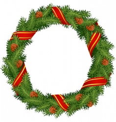Christmas wreath with red ribb vector