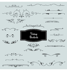 Set of borders in vintage style vector