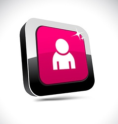 Person 3d square button vector