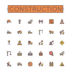 Colored construction line icons vector