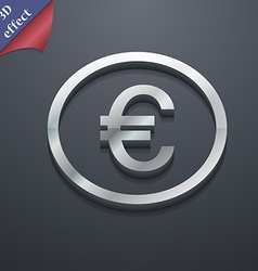 Euro icon symbol 3d style trendy modern design vector