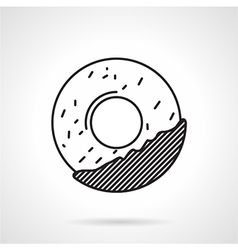 Round cookie black line icon vector