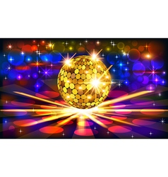 Bright background with golden disco vector