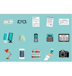 Flat set of office things vector