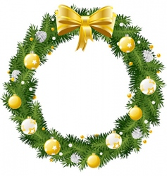 Christmas wreath with golden a vector