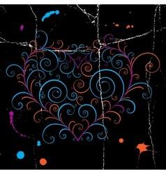 Dark grunge heart vector