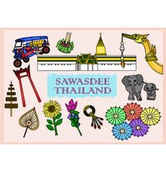 Set of sawasdee thailand culture - vector