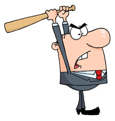 Angry businessman with baseball bat vector