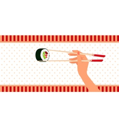 Woman hand holds by chopsticks maki sushi vector