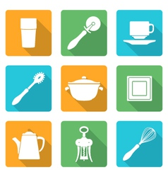 Flat style white design dinnerware icons set vector