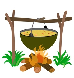 Kettle of soup in campfire vector