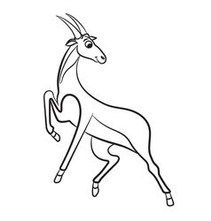 Antilopa outlined vector