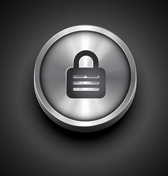 Metallic lock icon vector