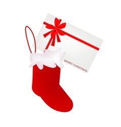 A lovely red christmas stocking with greeting card vector